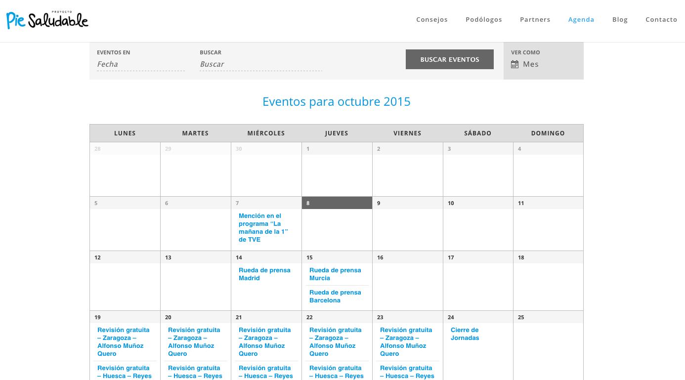 Pie Saludable – Calendario de eventos y listado de Podólogos