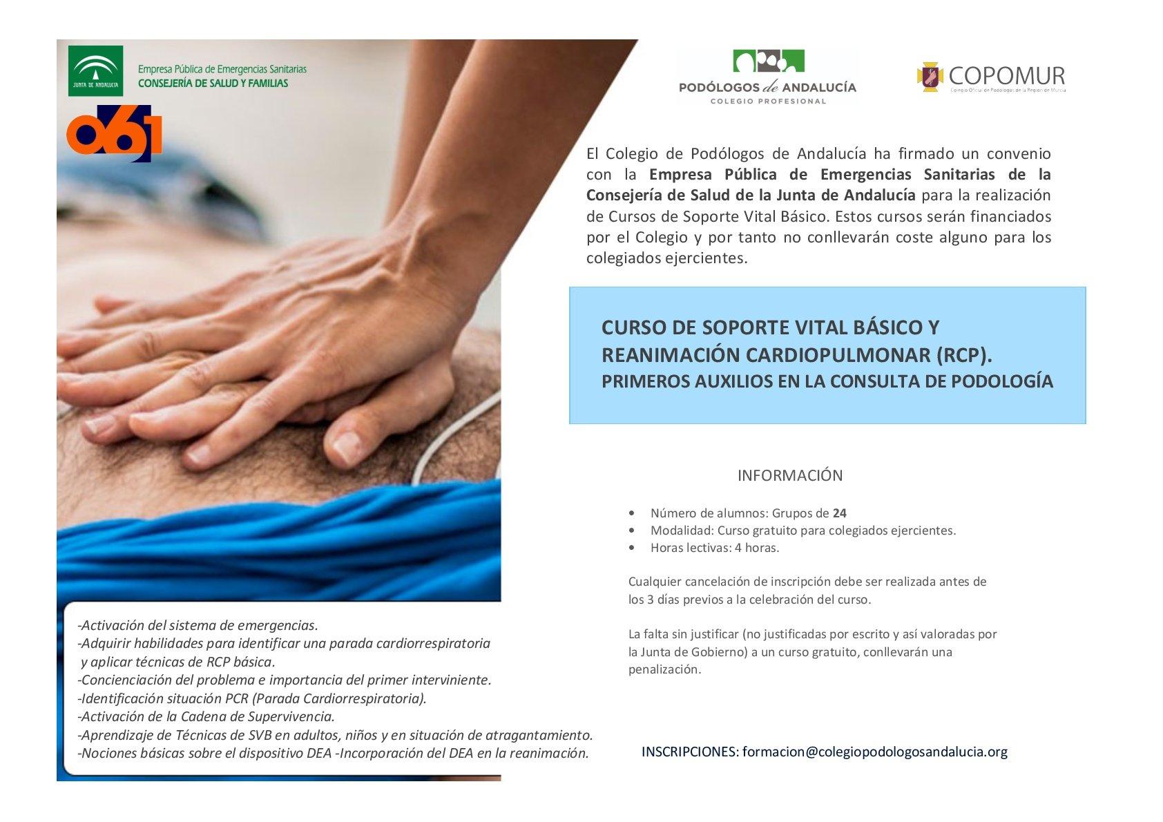 CURSO DE SOPORTE VITAL BÁSICO Y REANIMACIÓN CARDIOPULMONAR (RCP). PRIMEROS AUXILIOS EN LA CONSULTA DE PODOLOGÍA