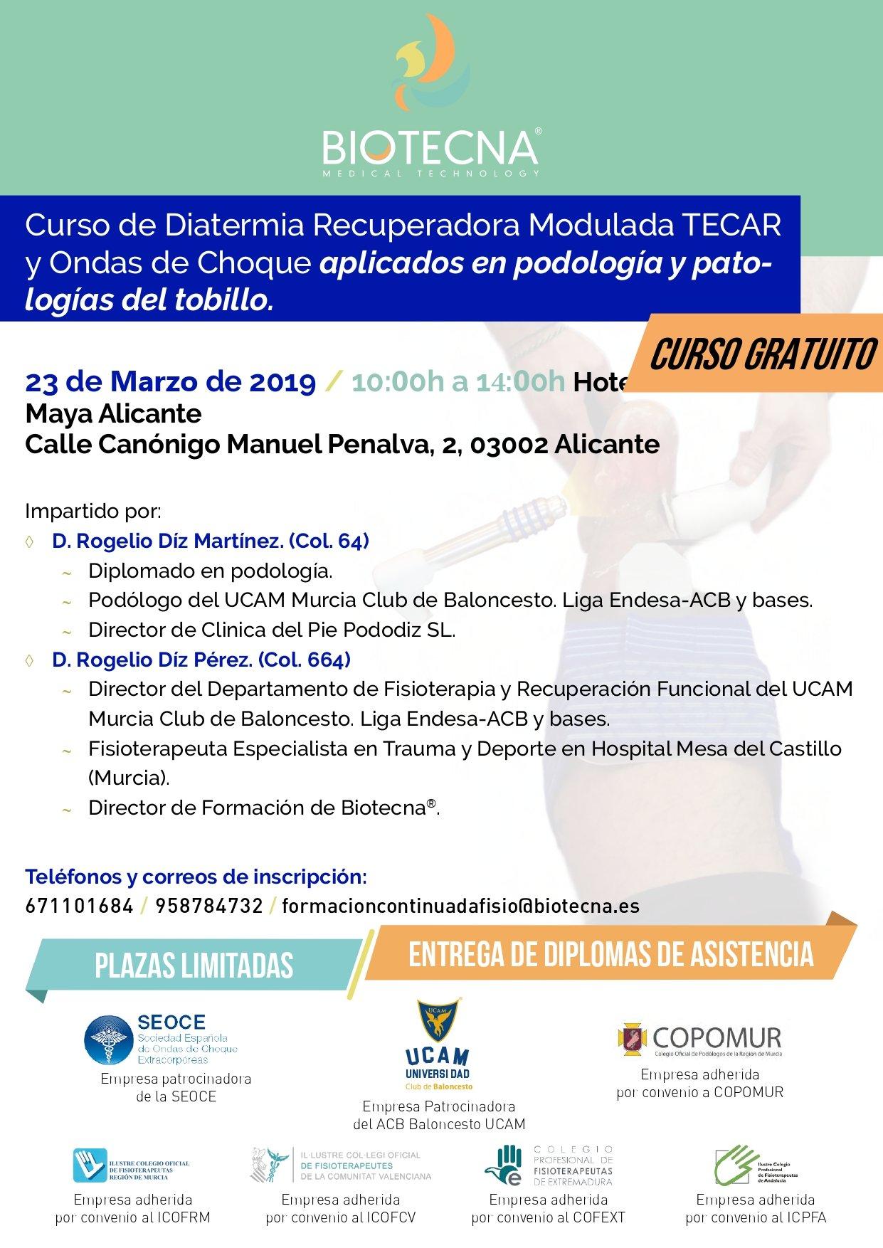 Curso de Diatermia Recuperadora (Tecar) y Ondas de Choque, aplicados en Podología y Patologías del Tobillo.