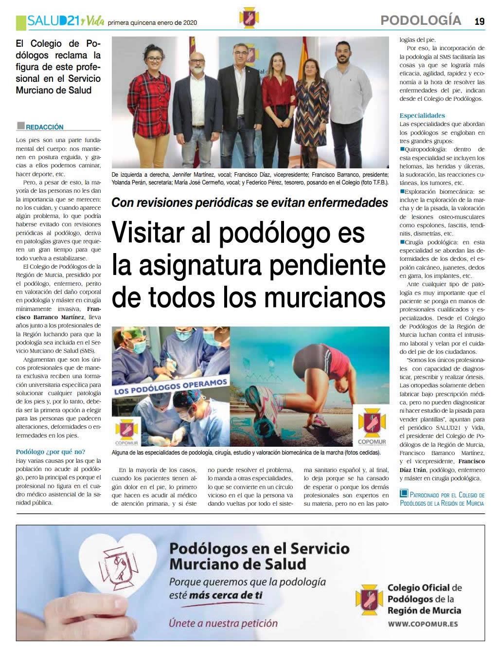 Podólogos en el Servicio Murciano de Salud
