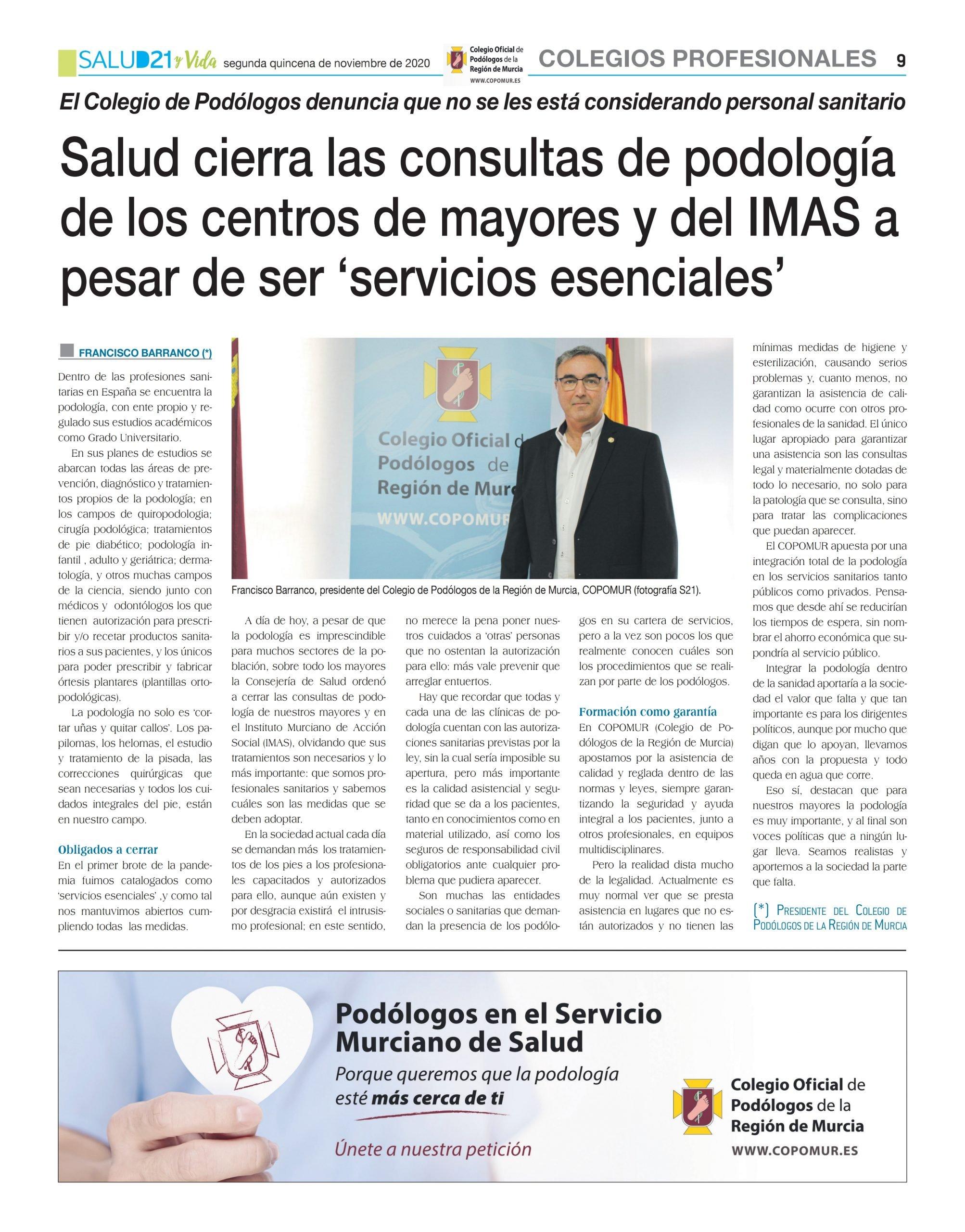 Salud cierra las consultas de podología de los centros de mayores y del IMAS a pesar de ser 'servicios esenciales'